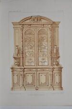 AM009 Lithographie originale Buffet Renaissance aménagement mobilier vaisselier