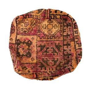 Amazing Vintage Moroccan Wool Rug Upcycled Pouf Floor Cushion Ottoman