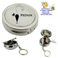 cendrier de poche porte clé chat personnalisable avec prénom au choix réf 05