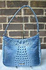NWT Brahmin Croco Leather Aquarius Melbourne Meg Blue Shoulder Tote $265
