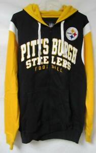 Pittsburgh Steelers Men's Large Full Zip Intentionally Distressed Hoodie A1 3222