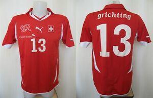 Switzerland team #13 Grichting 2010/2011/2012 Home Sz M Puma Swiss shirt jersey