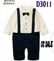 Baby Boys Kids Suspender Bowtie Pageboy Wedding Party Photography Suit Romper