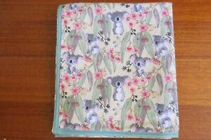 Baby blanket, handmade, double thickness flannel- Koalas on cream~ Australiana
