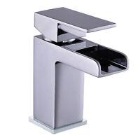 Modern Waterfall Bathroom Mono Basin Sink Mixer Tap Round Lever Handle Brass