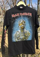 Vintage 80s Iron Maiden Concert World Slavery Tour Cotton Knitwear T Shirt. USA.