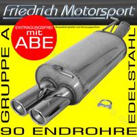 EDELSTAHL ENDSCHALLDÄMPFER BMW 3ER 318I 320I 320SI LIMOUSINE E90