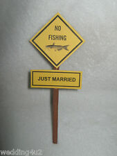 Weding Party Reception Redneck ~No Fishing Just Married~ Cake Topper Sign