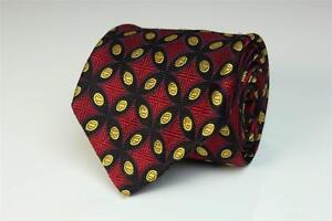 ROBERT TALBOTT Best of Class Tie. Hand Sewn. Red w Black & Gold Geometric Shapes