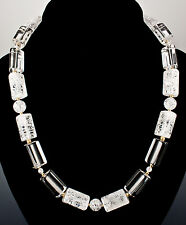 Cracked and Clear Quartz Necklace 14K Yellow Gold-Fill Beads and Clasp 21 Inch