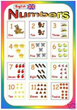 primary educational resource  NUMERACY numbers poster childminder childminding