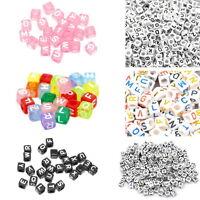 500 Acryl Perlen Beads Würfelperlen Buchstaben zum Basteln Schmuckstellung 6x6mm