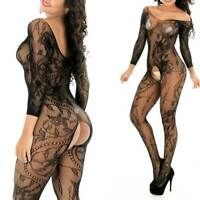 Women Lingerie Fishnet Lace Floral Bodystocking Bodysuit Nightwear Sleepwear US