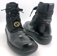 Gucci Authentic Vintage Square Toe Military Boots Black Leather 37 US 7 Narrow