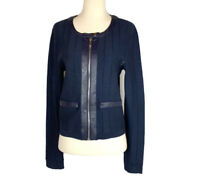 NY&Co. Size S 7th Avenue Design Studio Knit Jacket Faux Leather Trim Navy NWT