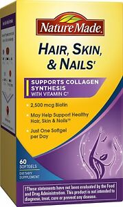Nature Made Hair, Skin, Nails with Biotin Softgel 2500 mcg 60 Count
