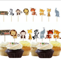 24Pcs  Animal Cake Topper Cartoon Jungle Safari Kid Birthday Party Cake Decor