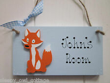 FOX PERSONALISED NAME BOYS GIRLS BEDROOM DOOR SIGN PLAQUE
