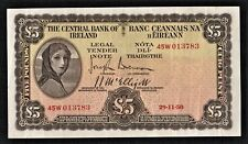 IRELAND  1950  GVF  £5  LADY  LAVERY    BANKNOTE