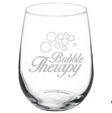 Stemless Wine Glass Goblet 17oz Bubble Therapy Champagne Lover Sparkling Wine