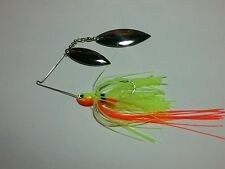 SPINNER BAIT 3/8OZ WITH DOUBLE WILLOW BLADE  CHARTREUSE  ORANGE FISHING LURE