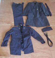 VINTAGE 1960'S US AIR FORCE UNIFORM WOOL COAT W/ DRESS HAT BELT TIE PANTS JACKET
