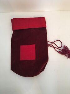 Pottery Barn Red Velvet and Silk Wine Gift Bag New NWT Tassels