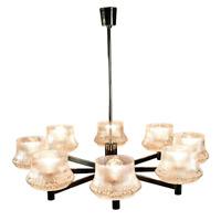 Decken Leuchter Stab Pendel Lampe 8flammig Chrom & Glas 60er 70er Vintage
