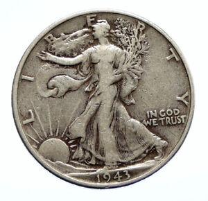 1943P UNITED STATES US Silver WALKING LIBERTY Half Dollar Coin BALD EAGLE i96466