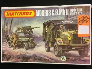 Matchbox 1/72 British Morris C8 Pk-172 Anti-tank Gun + Willy's Jeep+ crew BOXED