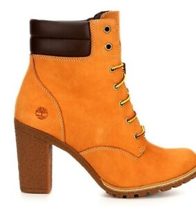 Timberland Tillston Women's High Heel Lace Up Boots Shoes Style NIB