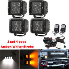 "4X 4D Amber/White/Strobe LED Work Light 3x3"" Cube Pods Off-road Warning Fog Lamp"