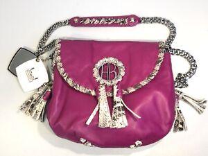 Henri Bendel Magenta Leather Python Trim Shoulder Flap Bag