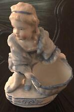 Spm Germany Antique Little Girl Holding Basket Miniature Figure
