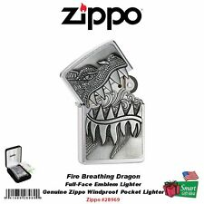 Zippo Fire Breathing Dragon Emblem Lighter, Brushed Chrome #28969