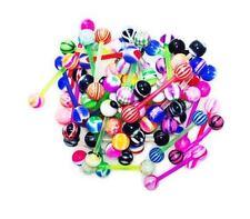 BodyJ4You 10Pcs Flexible Acrylic Tongue Ring Assorted Color 14G Barbells