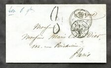p169 - GB 1849 Stampless Cover to FRANCE