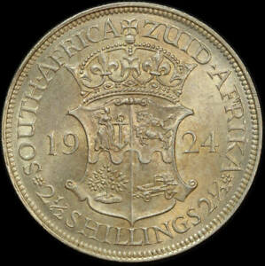 South Africa 1924 Silver 2.5 Shillings KM#19.1 about Unc