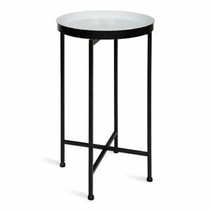 Alvis Cross Legs End Accent Metal Black White Table Tray by Mistana Wayfair