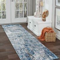 Home Kitchen Door Mat Runner Blue Distressed Abstract Floor Rug Carpet 80x300cm