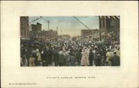 Morris MN Crowd on Atlantic Ave c1910 Postcard