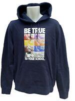 New Vintage NIKE Sportswear Pullover Hoodie  BE TRUE TO YOUR SCHOOL Dark Blue M