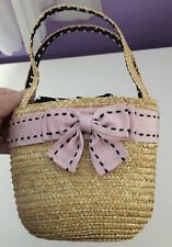 THE CHILDRENS PLACE PURSE STRAW HANDBAG With Pink Bow Lined Polka Dot
