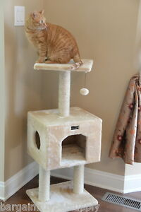 """42"""" Armarkat Cat Tree Condo Bed Scratching Post Perch Tower Beige A4201"""