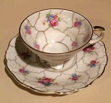 Vintage Edelstein Ivory w/ Deep Pink Roses Demi Espresso Cup & Saucer