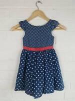 Bhs 'Matilda's Wardrobe' Navy Polka Dot Dress Size 3-4 Years