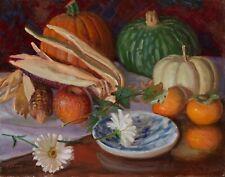 Original oil painting still life pumpkin persimmon ears of corns 14x11 in Y Wang
