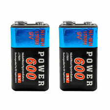 2 pcs 9V 9.0 V Volt 600mAh Ni-MH 6F22 PP3 17R8H Rechargeable Battery Power