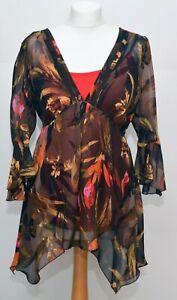 Per Una Brown Floral Chiffon Top Blouse Size 14 BNWT
