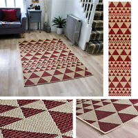 Triangle Geometric Prism Flatweave Utility Mats Rugs Hall Runners Red Anti Slip